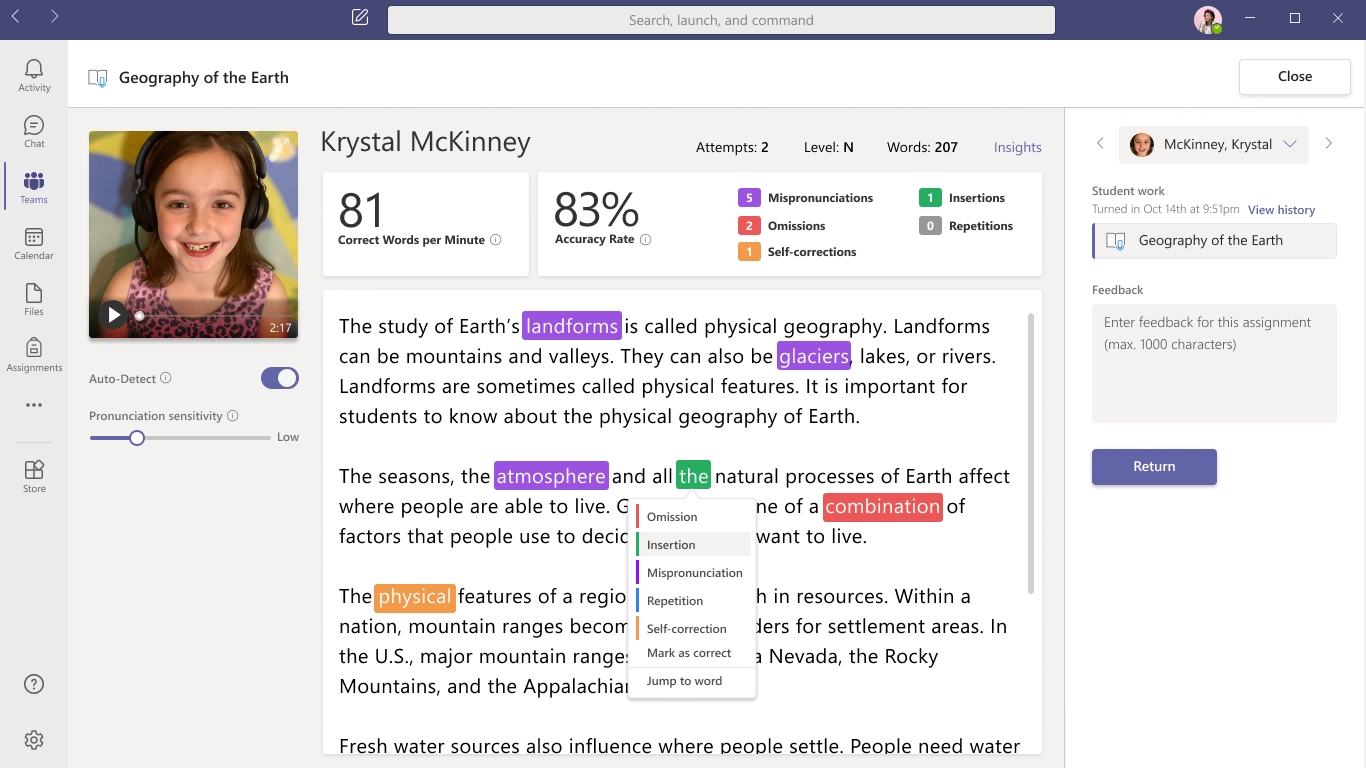 Screenshot of Microsoft's Reading Progress application.